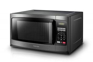 Silver Toshiba microwave oven. Click to view its Amazon page.