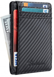 Black slim leather wallet with cards and money inside. Click to view its Amazon page.