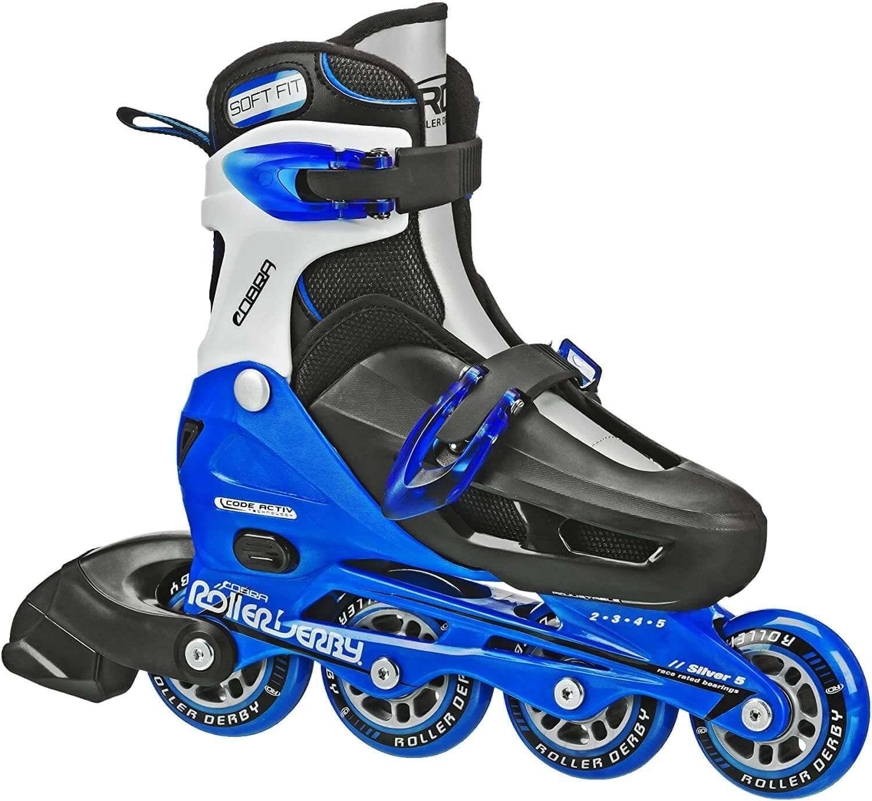 Black, blue, and silver roller derby skates.