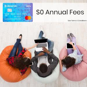 Three students discussing Deserve credit card