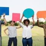 People holding speech bubbles - ask for opportunities during your scholarship search