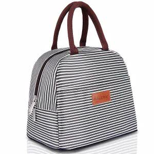 Black and white BALORAY lunch bag tote with stripes. Click to view the Amazon page.