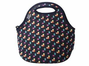 Black BUILT neoprene lunch tote bag with pixel confetti design. Click to view the Amazon page.