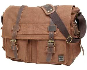 Light brown Berchirly canvas leather messenger bag. Click to view the Amazon page.