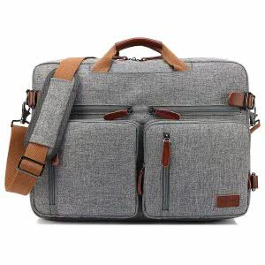 Light gray CoolBELL convertible backpack messenger bag. Click to view the Amazon page.