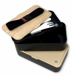 Two Grub2Go Bento Boxes with black and bamboo design. Click to view the Amazon page.
