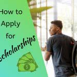 Student with backpack, text: How to apply for scholarships