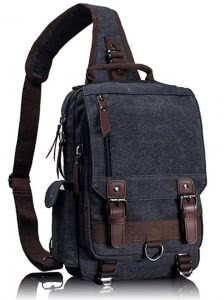 Grey Leaper canvas sling bag with leather straps. Click to view the Amazon page.