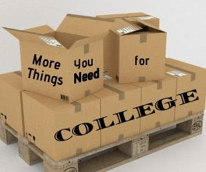 Pallet of boxes with text: More Things You Need for College