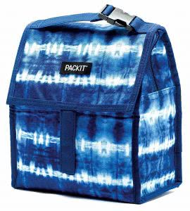 Blue tie dye PackIt freezable lunch bag. Click to view the Amazon page.