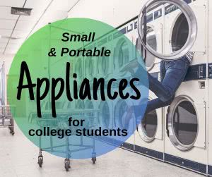 Washing machines with text: small appliances for college students