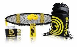 Spikeball net, 3 balls, drawstring bag, and rule book.