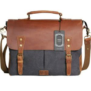 Brown and gray vintage Wowbox messenger bag. Click to view the Amazon page.