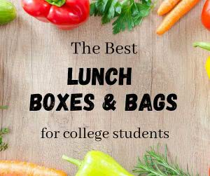 "Fresh vegetables with overlay text that says ""the best lunch box and bag options for college students."""