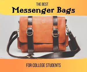 "Leather sling bag with overlay text that says ""The best messenger bags for college students."""