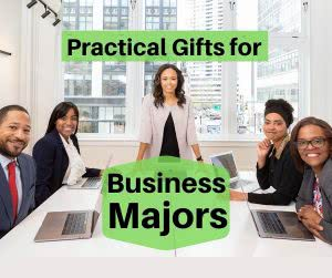 Company meeting with text: practical gifts for business major