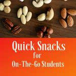 Nuts with text: quick college food for on-the-go-students