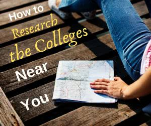 Student with map and text that says how to research the colleges near me
