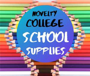 Colored pencils with text: college school supplies