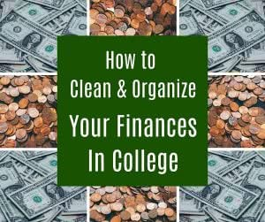 Pictures of money and coins with text: how to organize finances in college