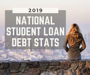 Student looking at city with text: student loan debt statistics