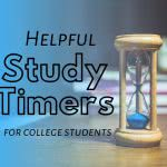 Hourglass with text: helpful study timer for college students
