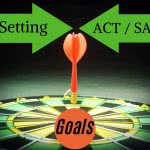 "Dartboard with text: setting act/sat goals. Wondering ""what is a good sat score?"""