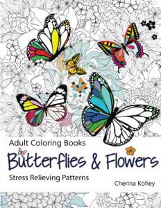 Butterflies and Flowers adult coloring books
