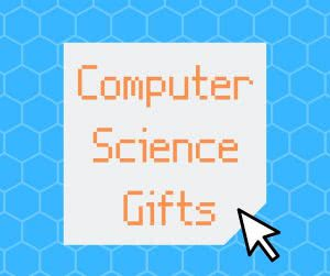 Blue hexagons with text: Computer Science Gifts