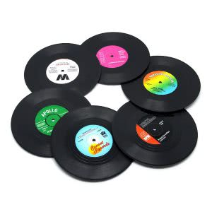 DuoMuo vinyl record coasters