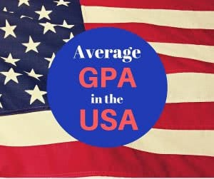 American flag with text: Average GPA in the USA