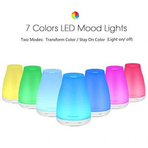 7 InnoGear essential oil diffusers in various bright colors. Click to view its Amazon page.