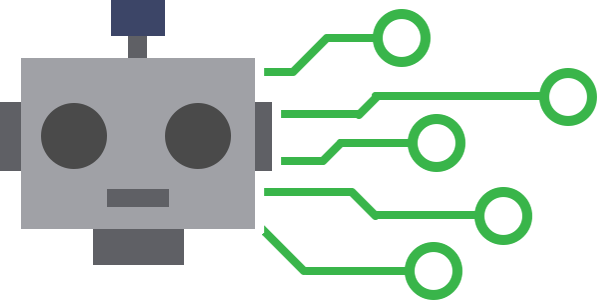 A graphic of robot's head with green lines connecting to it.