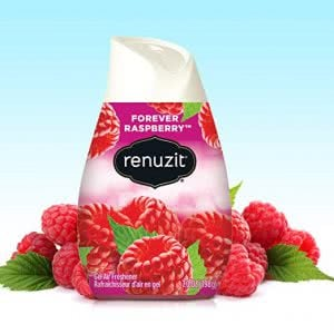 Raspberry-scented Renuzit gel air fresheners surrounded by raspberries. Click to view its Amazon page.