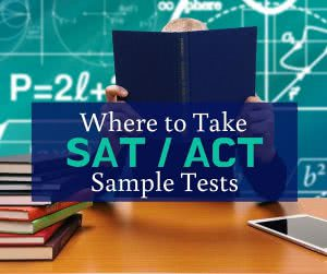 Student in front of chalkboards and books with text: Where to take SAT / ACT sample tests