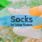Shoes with orange socks and text: socks for college students