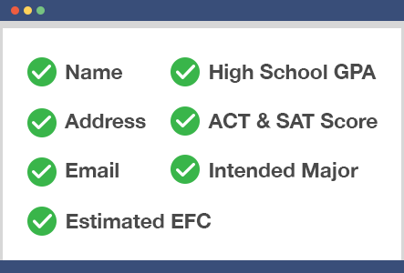 Checkboxes of contact information to submit in the net price calculator.