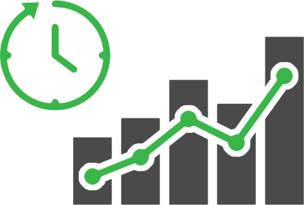 Line graph and time illustration signifying real-time data delivery.