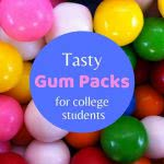 Gumballs with text: tasty gum packs for college students