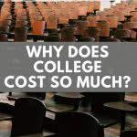 Empty classroom with text: why does college cost so much?