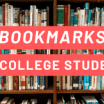 "Bookshelves filled with books, with white text overlayed on red rectangles that says ""bookmarks for college students."""
