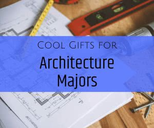 Blueprints and rulers with text: cool gifts for architects