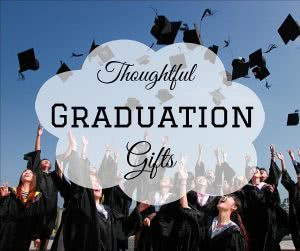 Students throwing graduation caps with text: thoughtful graduation gifts
