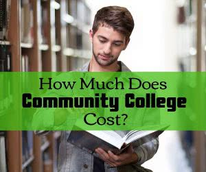 Student in library with book and text: how much does community college cost?