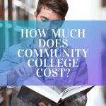 "A college student holding a book in the library, with text overlayed that says ""how much does community college cost?"""