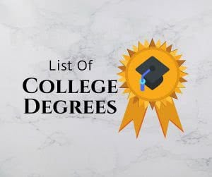 Ribbon and grad cap icon with text: List of college degrees