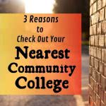 Brick building with text: 3 reasons to check out your nearest community college