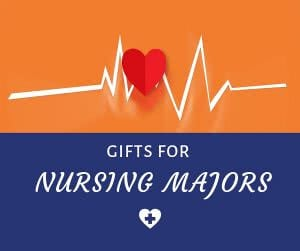 Heart rate with text: gifts for nursing majors