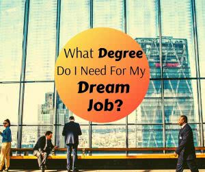 City scape with text: What degree do I need for my dream job?