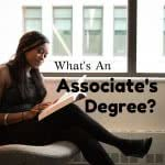 Student reading a book with text: what's an associate's degree